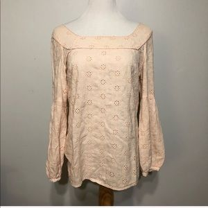 ANTHRO-ODILLE-Peach Eyelet Long Sleeved Top 10